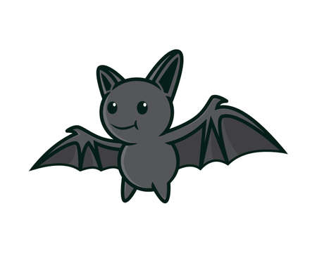 Cute and Sweet Flying Bat Illustration Vector Vettoriali