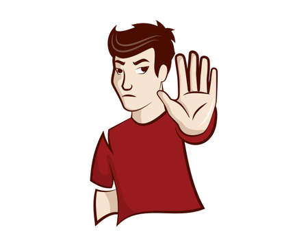 Man with Stopping or Rejected Gesture Illustration Vector Ilustrace