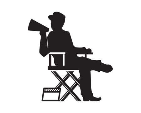 Movie Director Illustration with Silhouette Style Vector Ilustración de vector