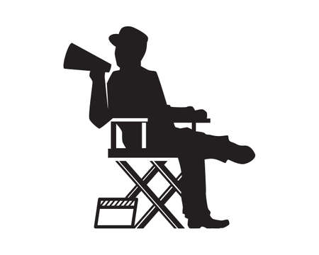 Movie Director Illustration with Silhouette Style Vector Çizim