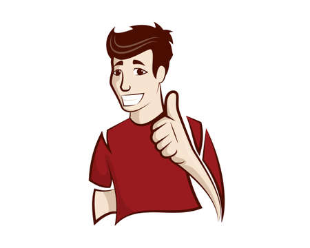 Humbly and Friendly Man with Recommending Gesture Vector