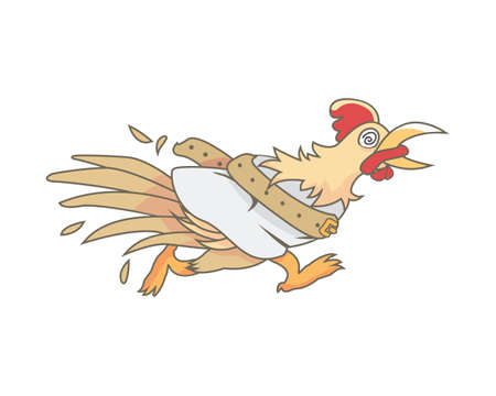 Running Mad and Crazy Chicken with Asylum Clothes Illustration Vector Stock Illustratie