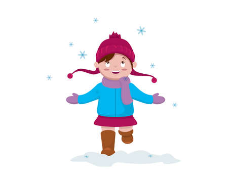 a Girl with Sweater and Beanie Welcoming Snowflake in the Winter Season Vector Illustration