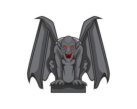 Detailed Gargoyle with Sitting Pose Illustration Vector Ilustración de vector