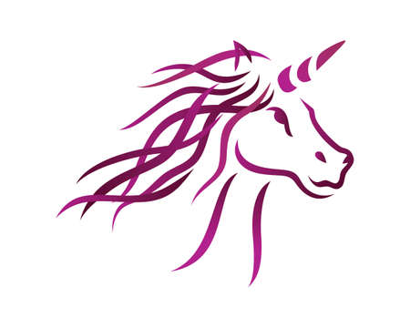 Unicorn Illustration with Silhouette Style Vector