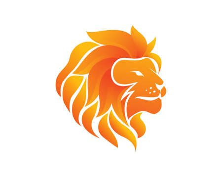 Flaming Fire Lion Head Vector