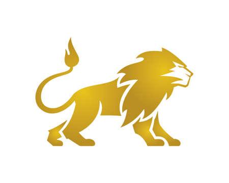 Great Golden Lion Standing Lion Standing Vector 矢量图像