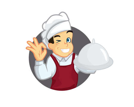 Smiling Chef Cartoon Eagerly Serves and Gives Recommendation 矢量图像