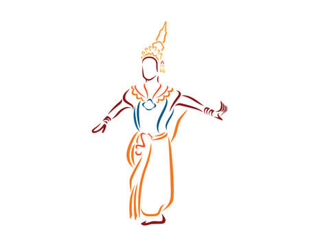 Traditional Thai Dance with a Thai Lady Dancer Silhouette Vector Illustration