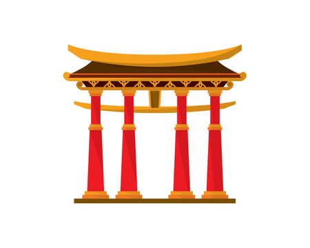 Detailed China Temple Gate Illustration