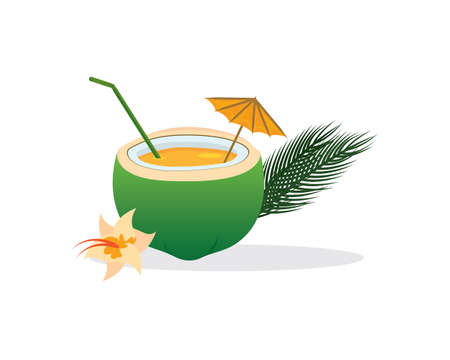 Tropical Cocktail in Coconut with Straw and Umbrella Векторная Иллюстрация