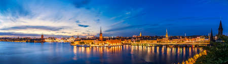 Sunset panorama of Stockholm. The Old Town architecture in Stockholm, Sweden.