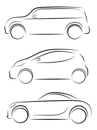 flown: contours of cars in a vector on a white background  Illustration