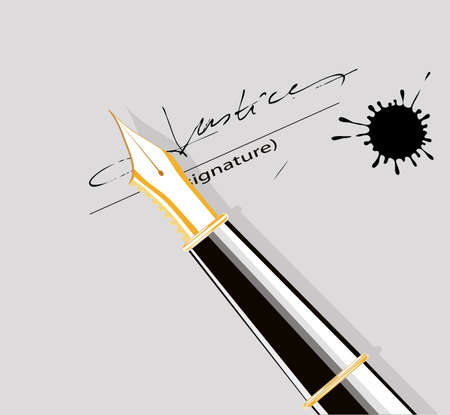 the signature on the document  Stock Vector - 14396136