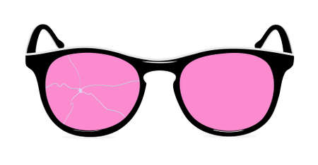 tacky: pink glasses with the broken glass in a vector  Illustration