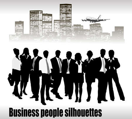 Group of business people and office  Stock Vector - 14557964