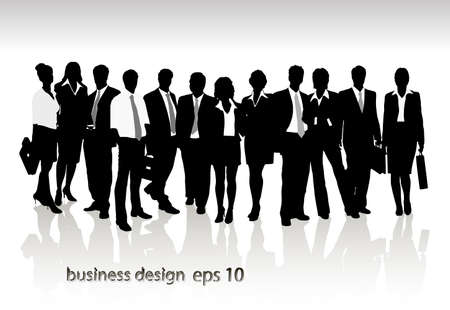 Group of business people and office