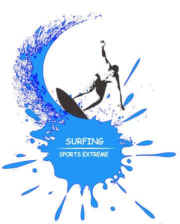surf silhouettes: Le immagini mostrano un server tra le onde Vettoriali