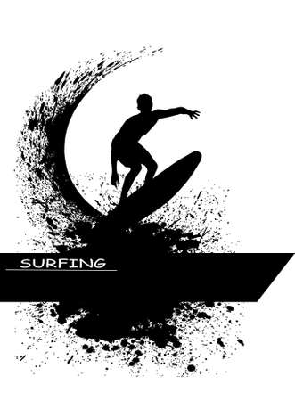surfing beach: The pictures show a server in the waves Illustration