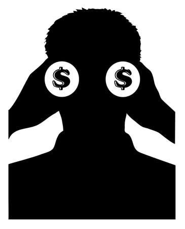 binoculars view: businessman with binoculars