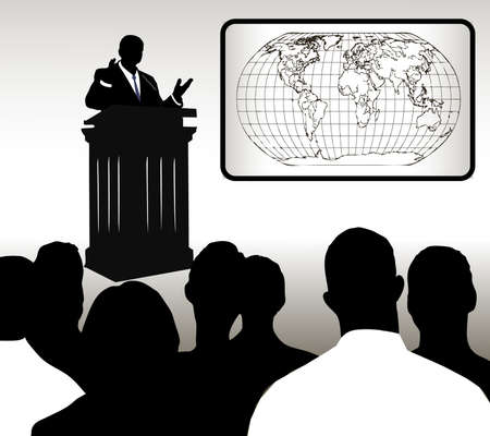 delegates: on the image the person addressing to audience is presented