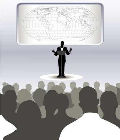 conferentie: op het beeld van de persoon adressering om het publiek wordt gepresenteerd Stock Illustratie