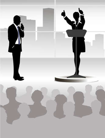 listeners: on the image the person addressing to audience is presented