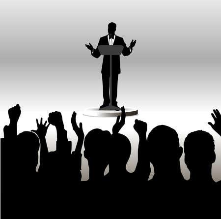 delegates: sull'immagine della persona rivolgendosi al pubblico � presentata Vettoriali