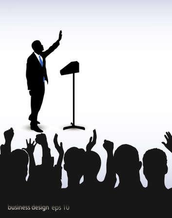 op het beeld van de persoon adressering om het publiek wordt gepresenteerd