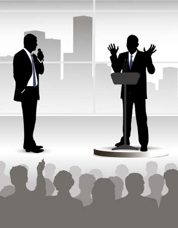 debate: on the image the person addressing to audience is presented