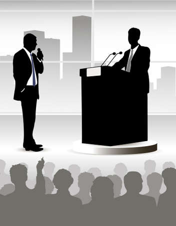 on the image the person addressing to audience is presented Vector
