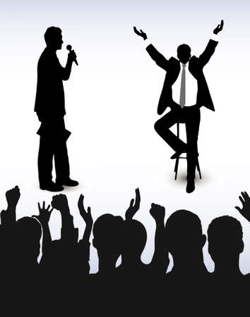 lecturing: on the image the person addressing to audience is presented