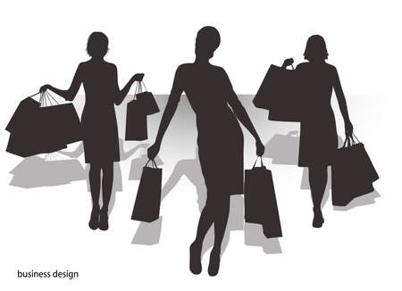 The pictures show the silhouettes for design woman with shopping Vector