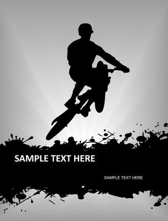 mountain biker: The pictures show a cyclist in flight Illustration