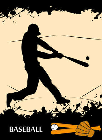 baseball cartoon: on the image the player on baseball is presented Illustration