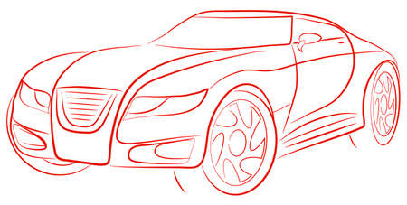 pictures show the contour of a sports car Vector