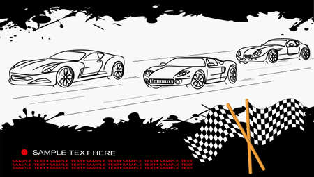 rally car: The pictures show the abstract contours racing car on grunge background Illustration