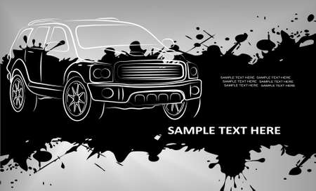The pictures show the abstract contours of road transport on grunge background Vector