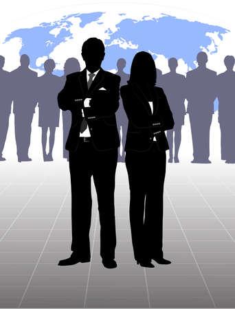 seguridad laboral: silueta del hombre de negocios Vectores