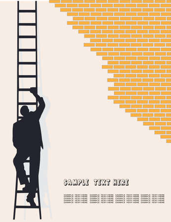 moving down: businessman going on a ladder Illustration