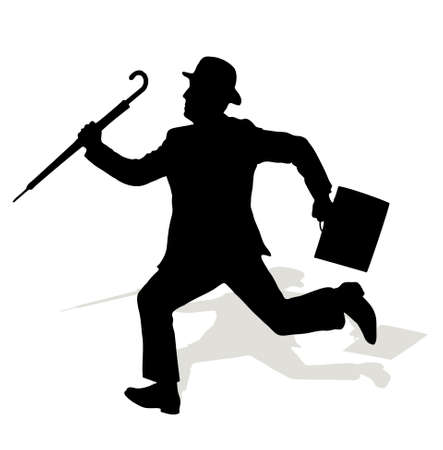 silhouette of the running person in a kettle Vector