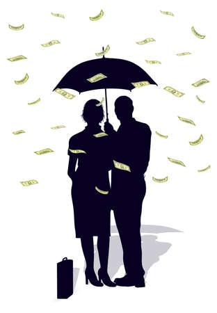 people in the rain from dollars Vector
