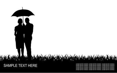 people in the rain Иллюстрация