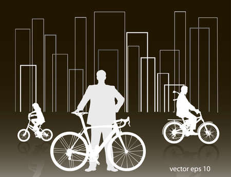 people on a bicycle Stock Vector - 15751563