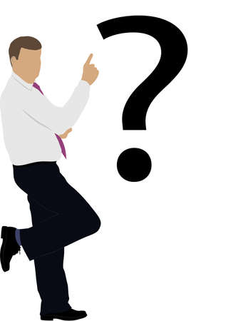 asking question: businessman under the badge of a question Illustration