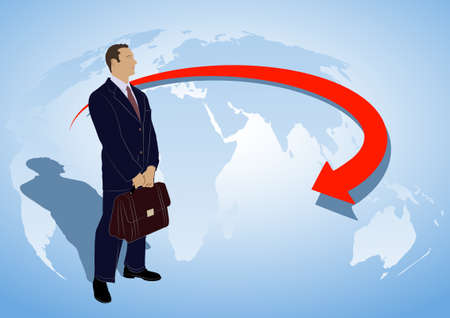 drawing of the businessman against the globe Vector