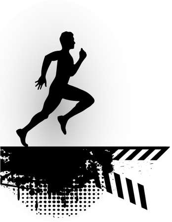 running person of grunge set Vector