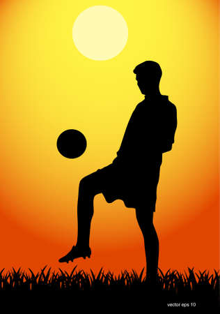 back lit: man plays with a ball Illustration