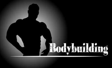 muscle training: alivio contorno del atleta sobre un fondo abstracto Vectores