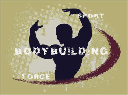 muscular build: relief contour of the athlete on an abstract background Illustration
